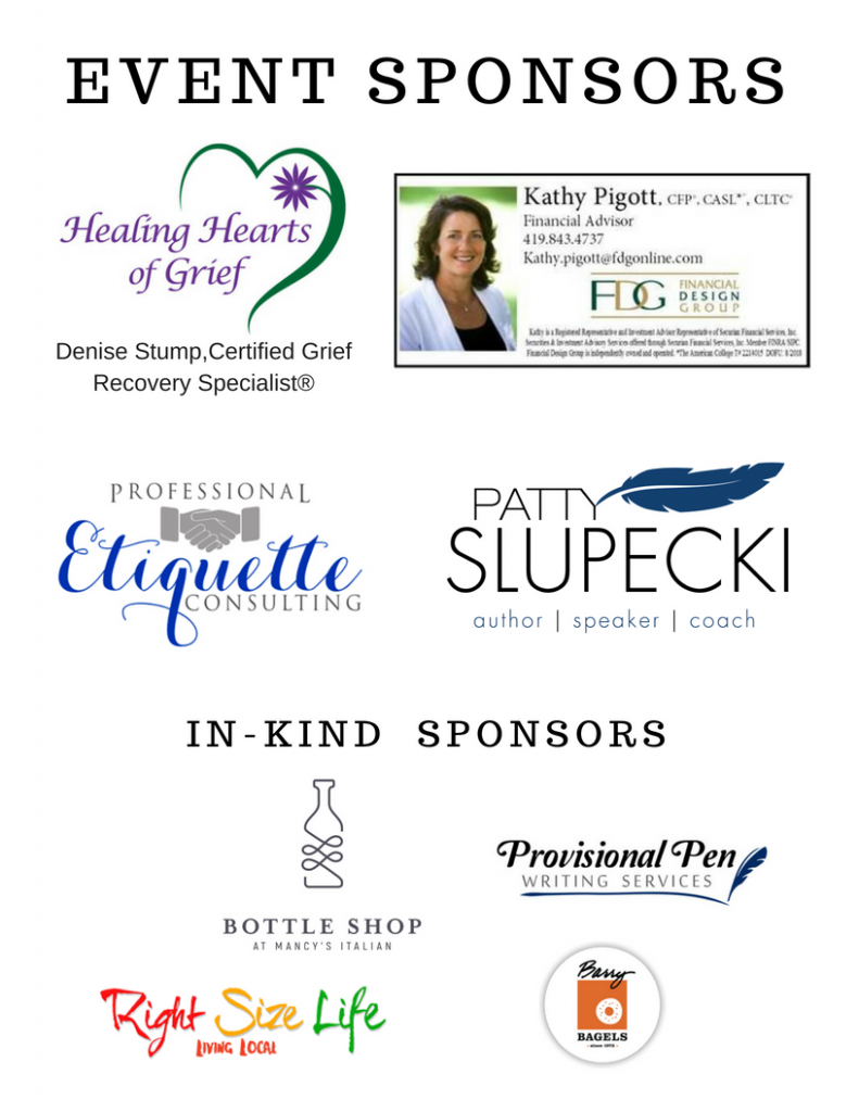 Sponsors for Suddenly Widowed launch event